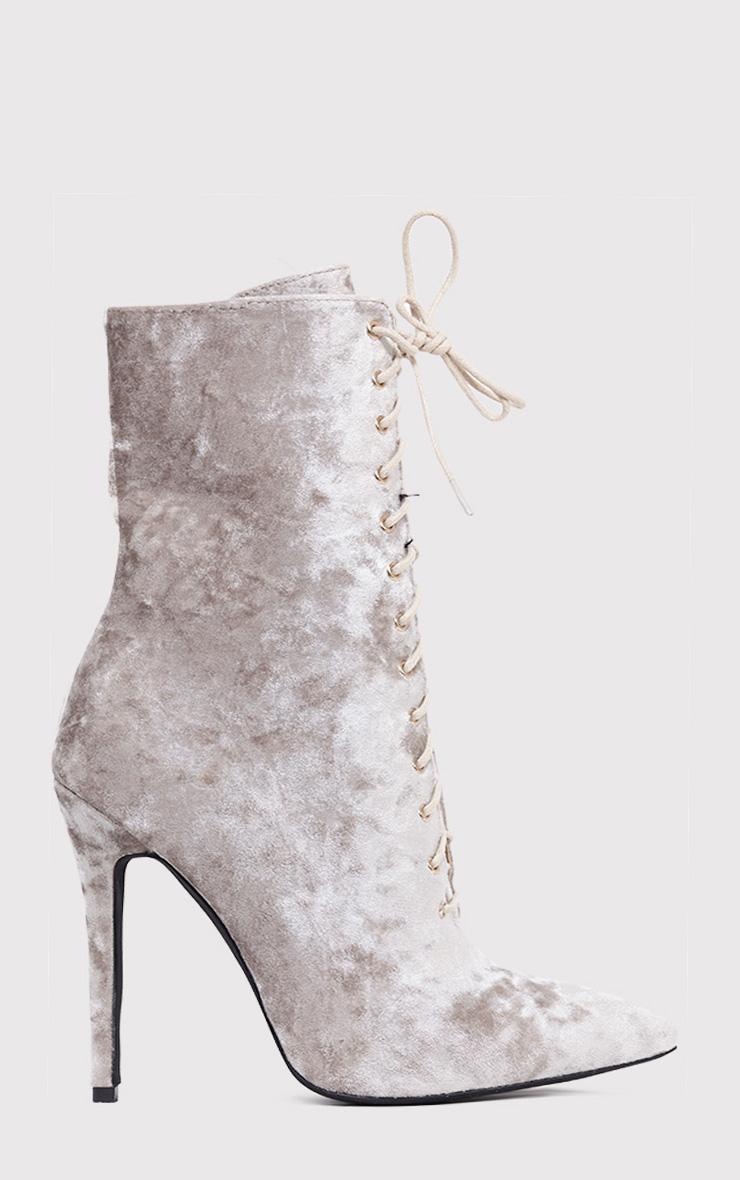 Savia bottes à talons à lacets en velours écrasé champagne 2