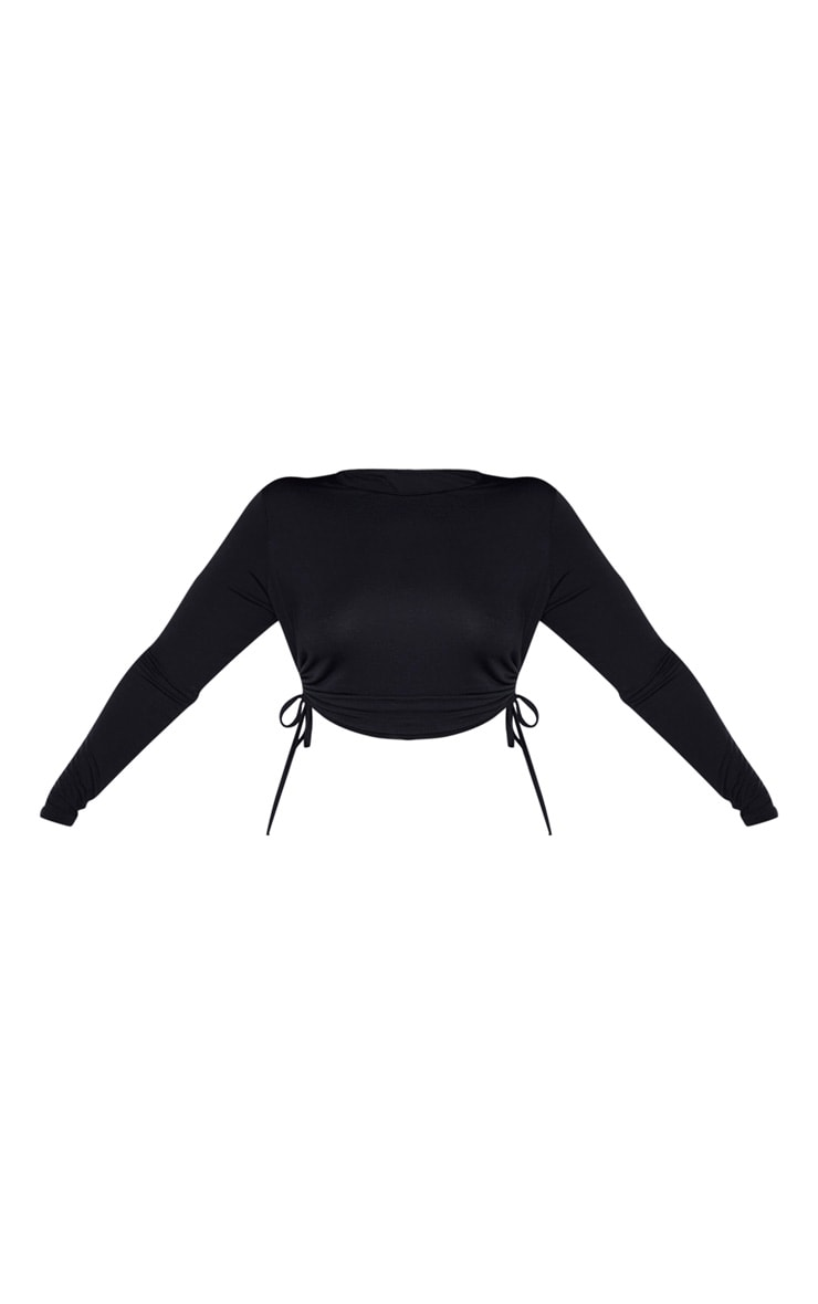 Plus Black Jersey Ruched Long Sleeve Crop Top  3