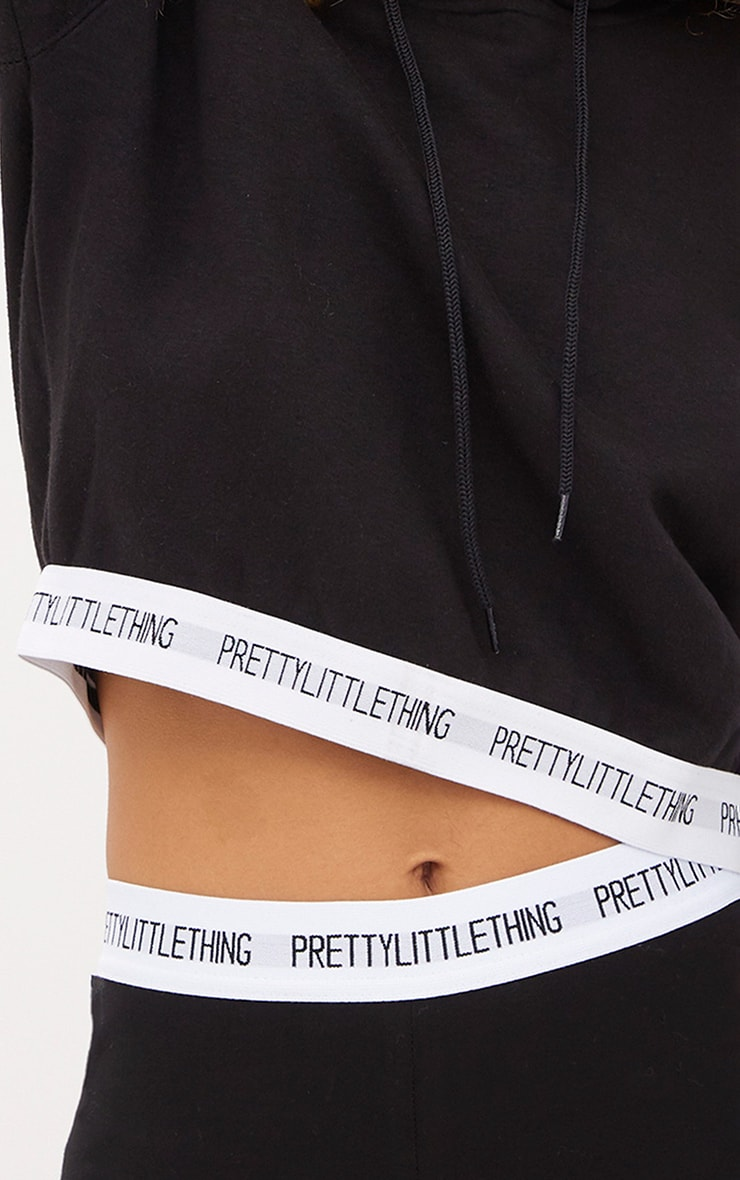 PRETTYLITTLETHING Black Trim Cropped Hoodie 4