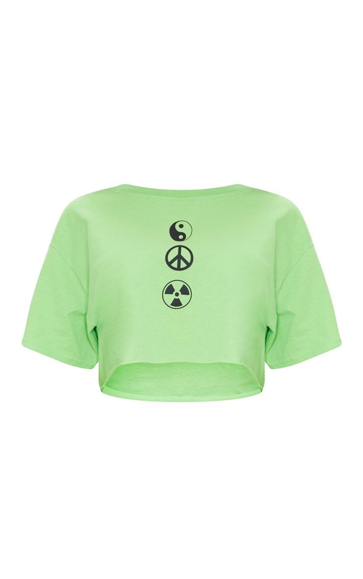 Lime Green Symbol Printed Crop T Shirt 5
