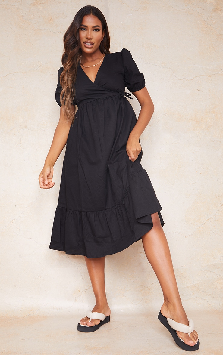 Black Woven Wrap Tie Detail Puff Sleeve Smock Midi Dress 1
