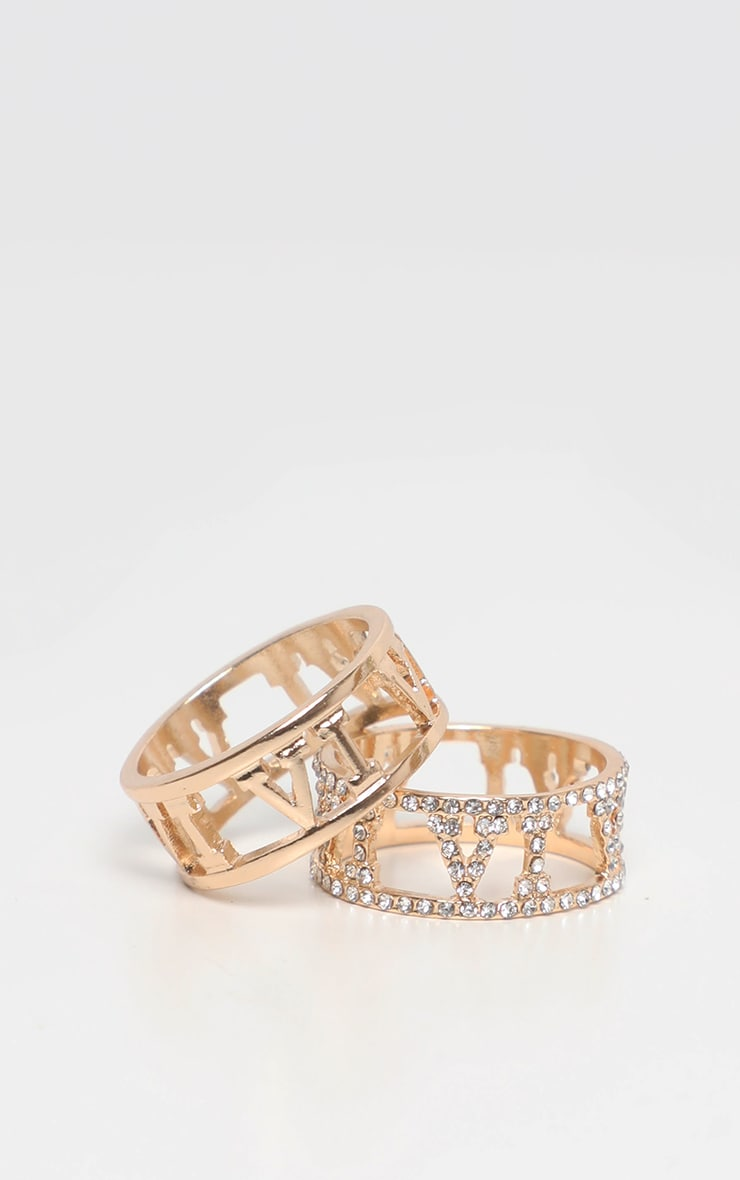 Gold Roman Numeral Diamante And Plain Ring 2 Pack 2