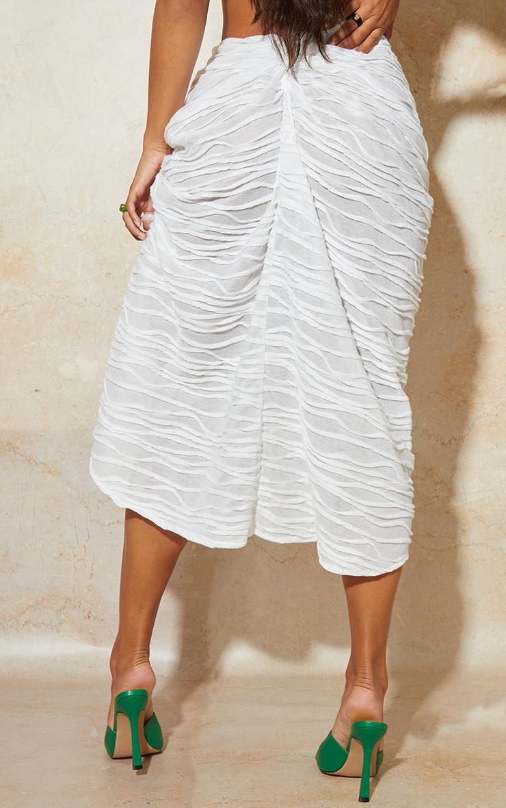 White Textured Knot Detail Split Side Midi Skirt 3