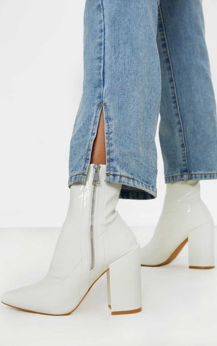 White Chunky Heel Side Zip Sock Boot 1