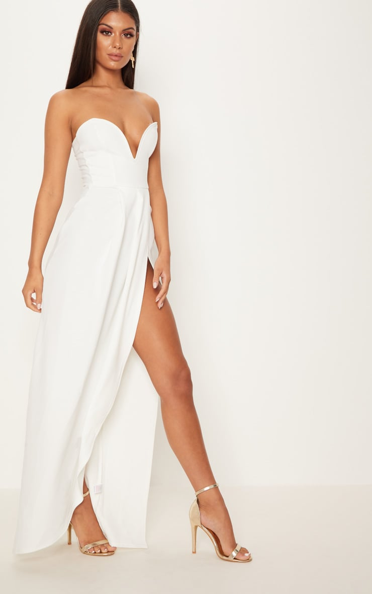 White Draped Wrap Detail Bandeau Maxi Dress 4