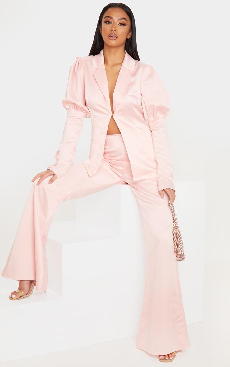 Petite Blush Satin Puff Sleeve Blazer 4