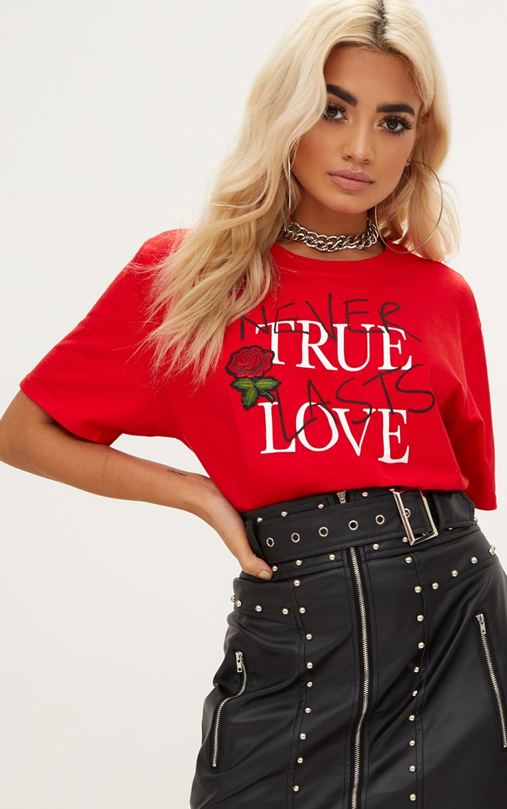 Red True Love Applique Slogan T Shirt 1