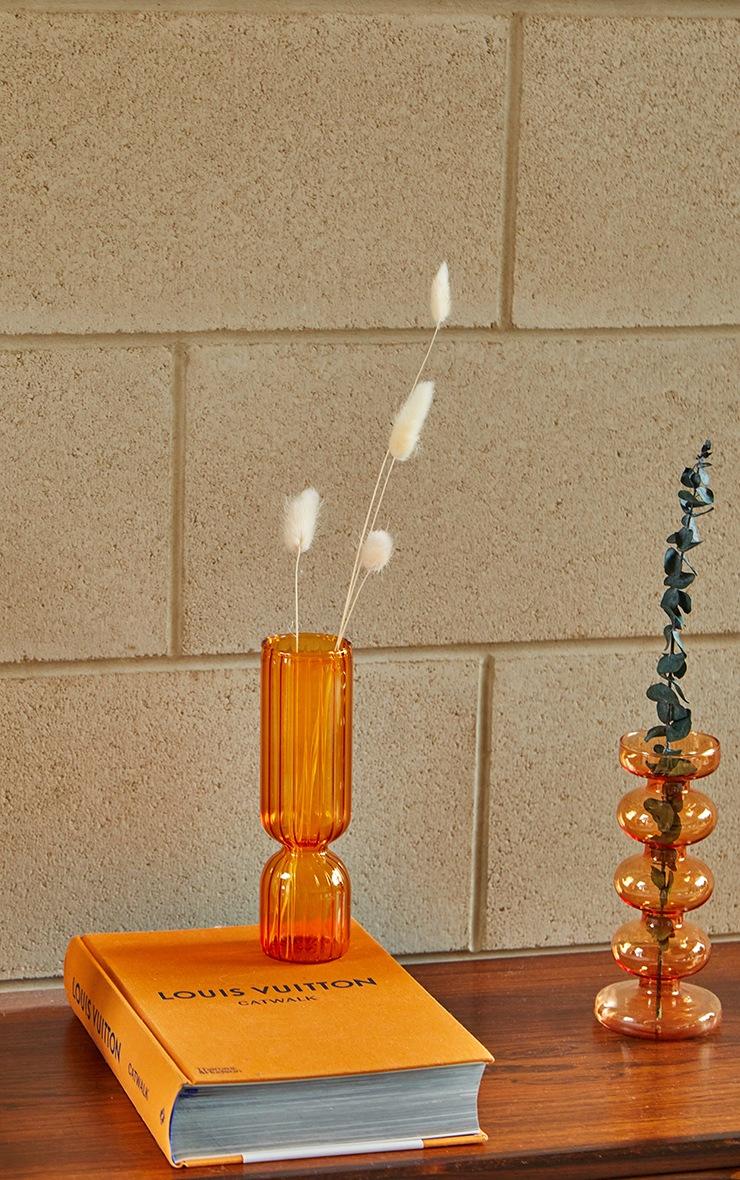 Orange Ribbed Glass Vase 3