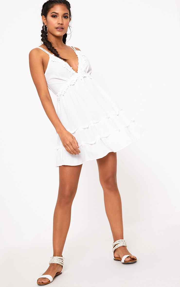 White Floral Trim Strappy Swing Dress 4