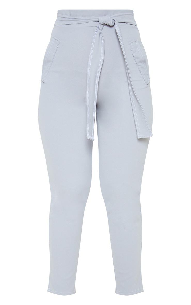 Grey Contrast Stitch Tie Waist Skinny Pants 3