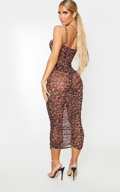 Brown Leopard Print Strappy Sheer Mesh Ruched Midaxi Dress