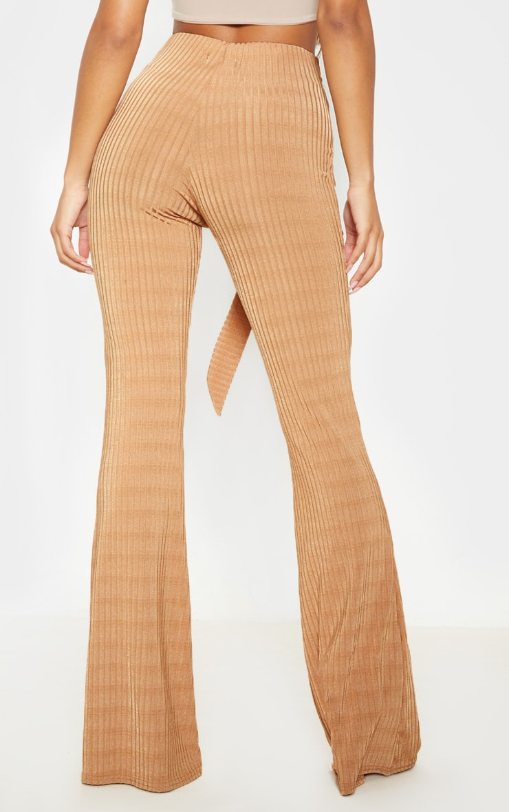 Tobacco Rib D Ring Belted Flare Leg Pant 4