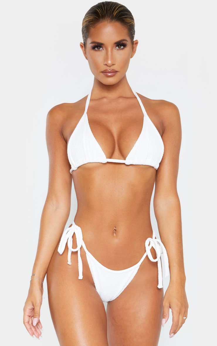Cream Soft Crinkle Triangle Bikini Top 1