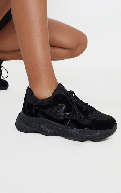 Black Double Bubble Sole Lace Up Trainer