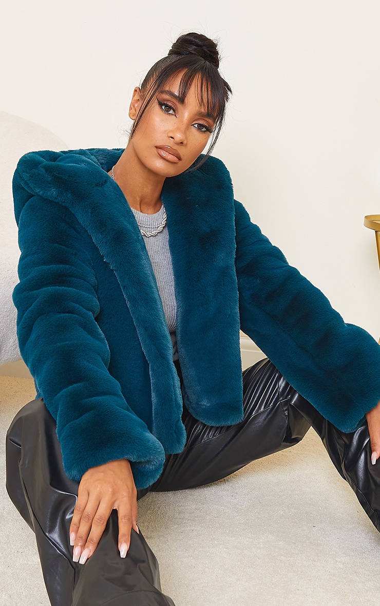 Teal Premium Cropped Faux Fur Hooded Coat 1