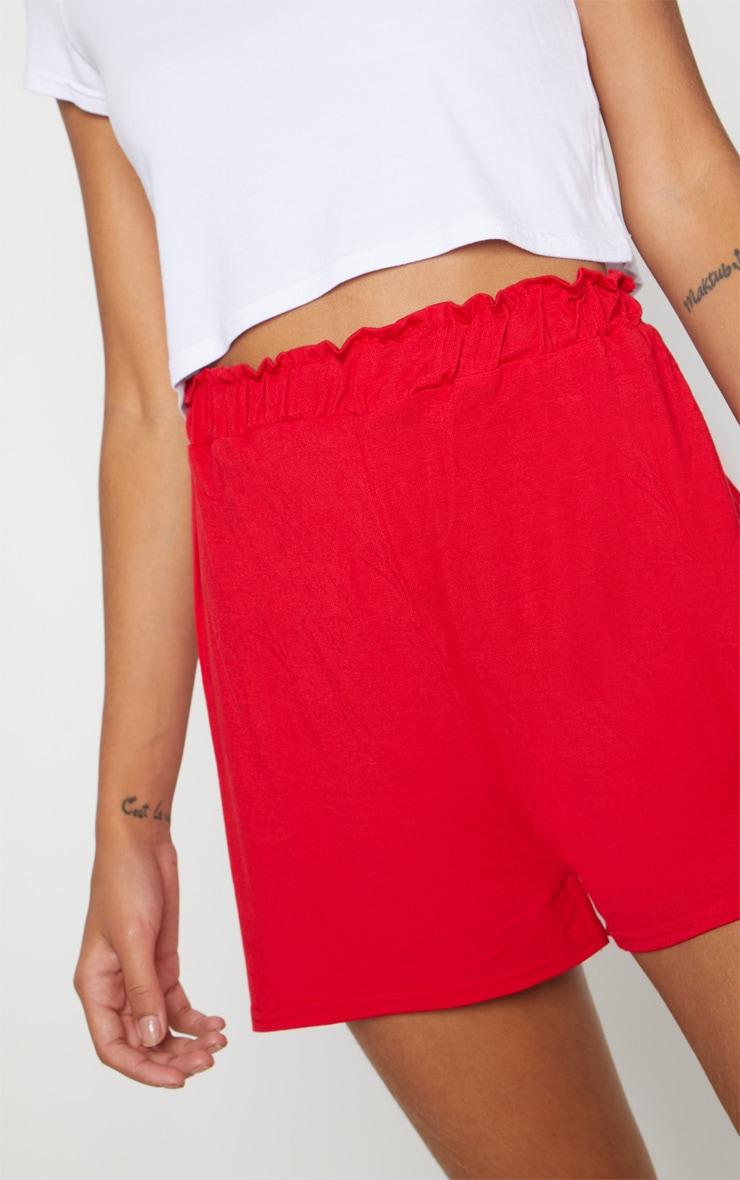 Red Jersey Ruched Waist Short 6