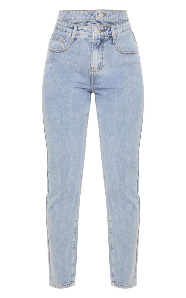 Vintage Wash Cut Out Waist Straight Leg Jeans 4