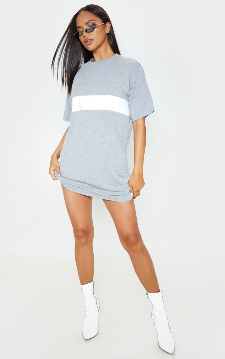 Grey Reflective Panel T Shirt Dress 1