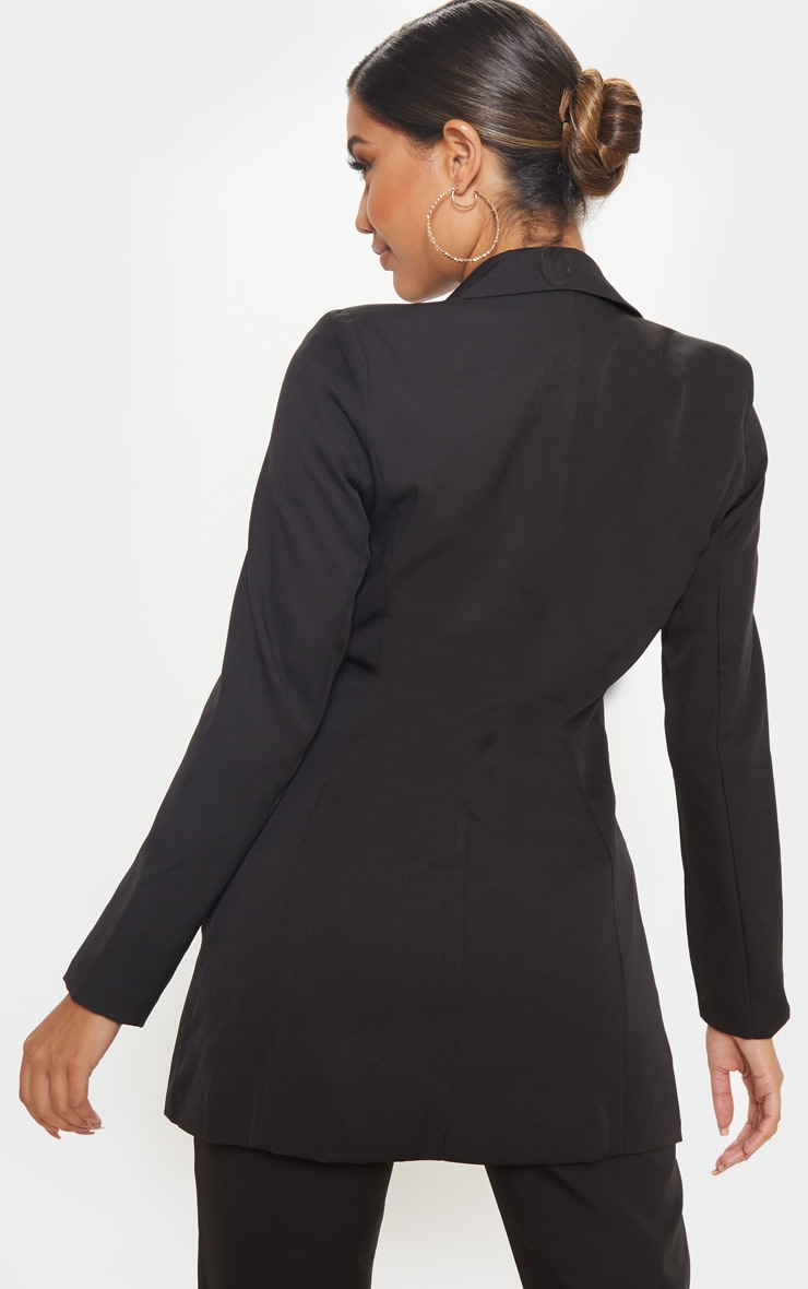 Black Double Breasted Woven Blazer 2