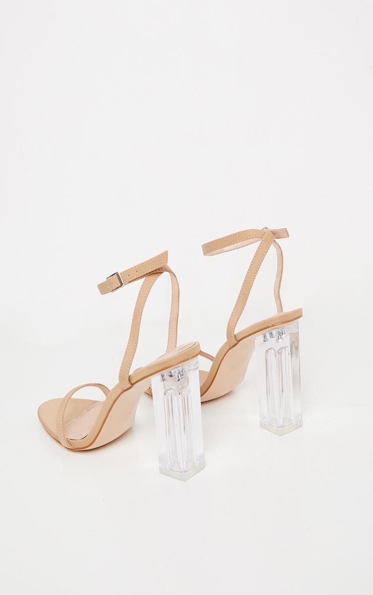 Sandales en lycra nude à talon bloc transparent 4