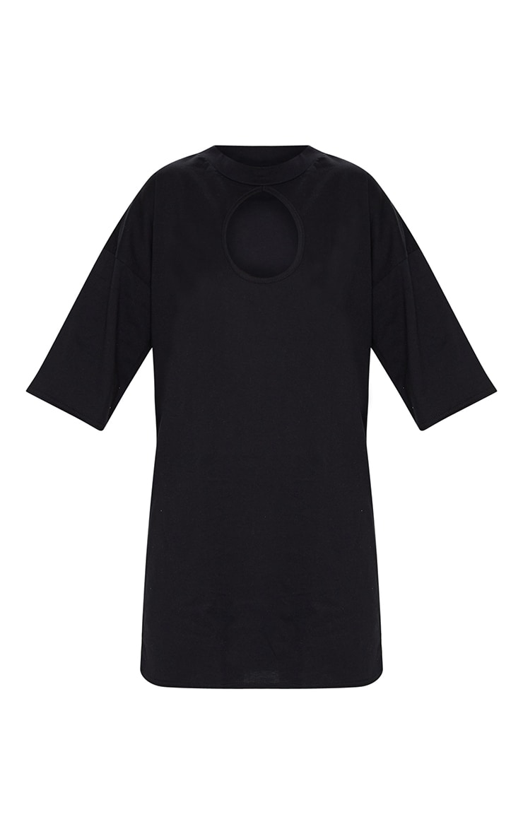 Black Keyhole Bust Detail T Shirt Dress 5