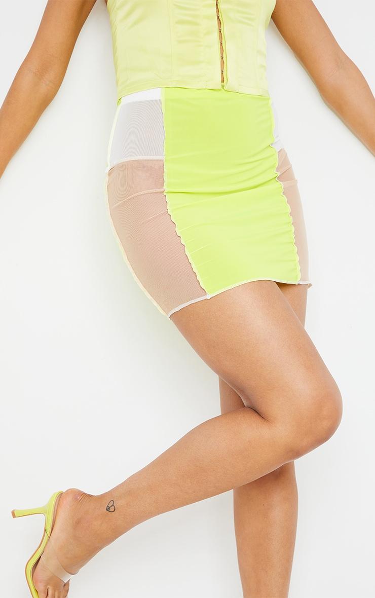 Lime Slinky Panelled Mini Skirt 5