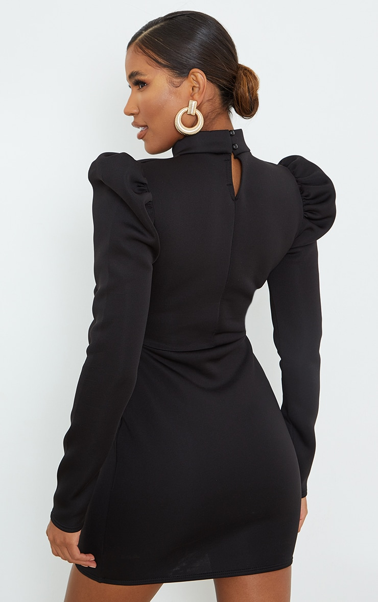 Black High Neck Bow Detail Scuba Bodycon Dress 2
