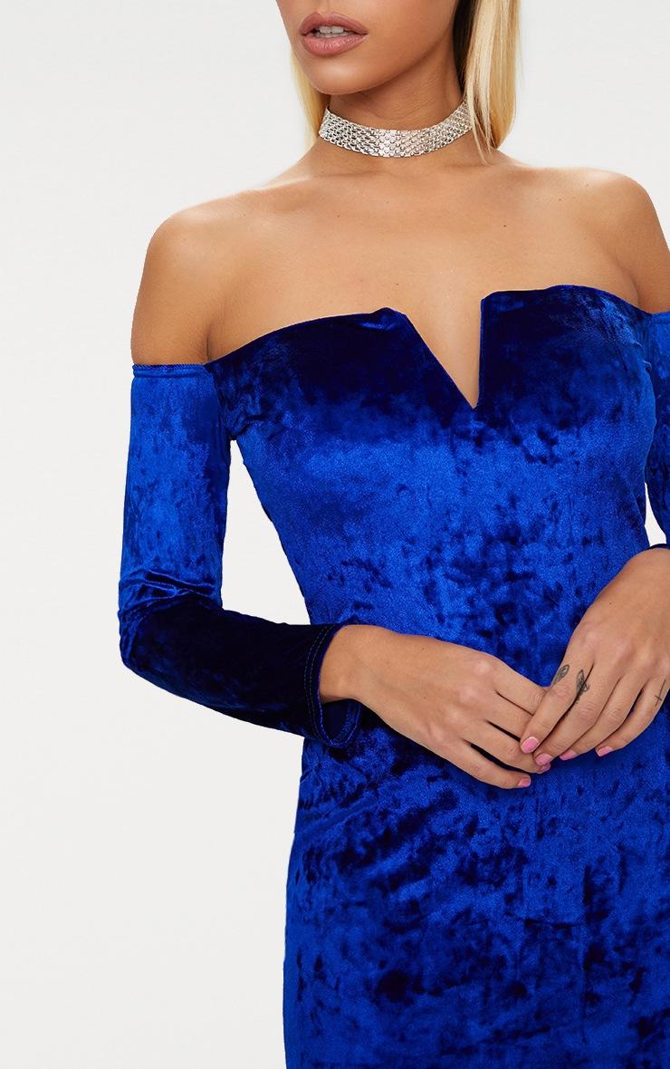 Cobalt Velvet V Bar Bardot Bodycon Dress 5