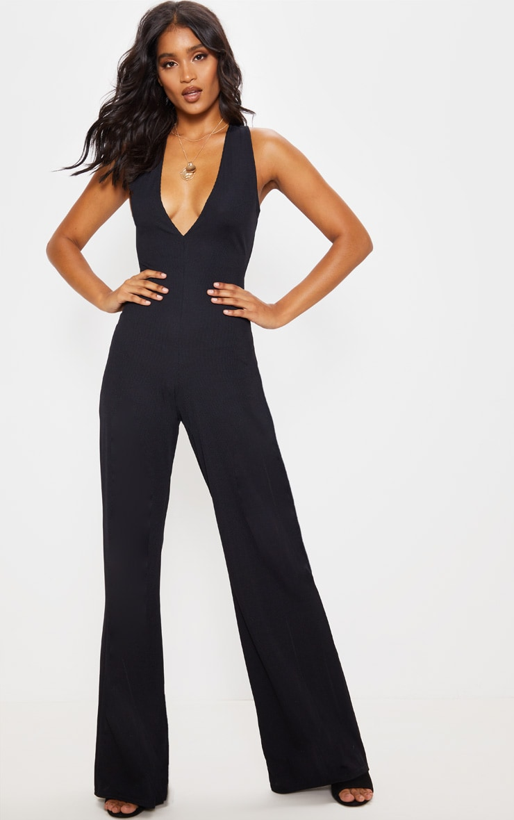 Black Cross Back Rib Jumpsuit 2