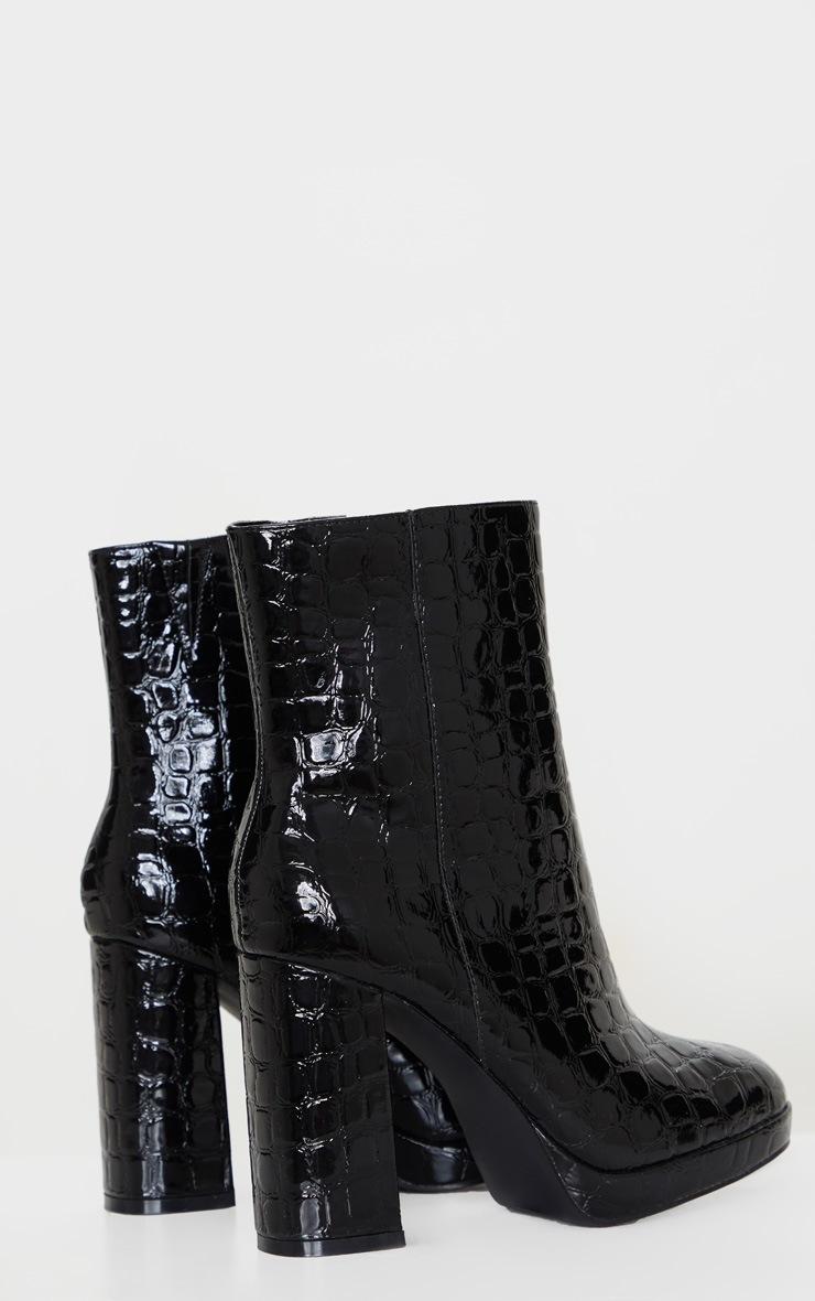 Black Low Platform Block Heel Croc PU Boot 4