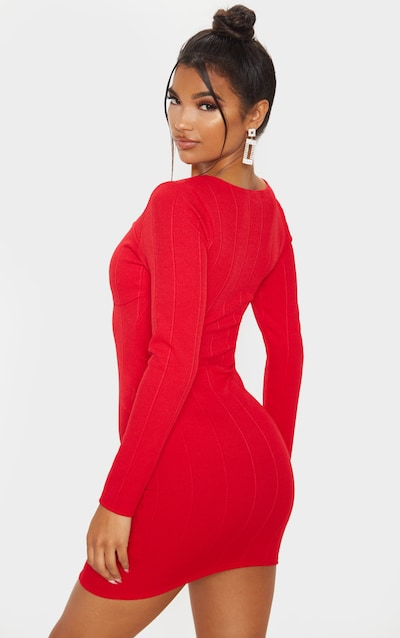 Red Bandage Rib Long Sleeve Cut Out Detail Bodycon Dress