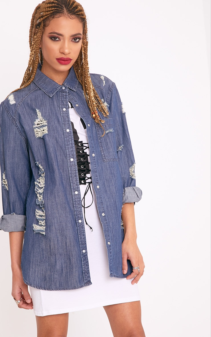 Miae Mid Wash Distressed Oversized Denim Shirt 4