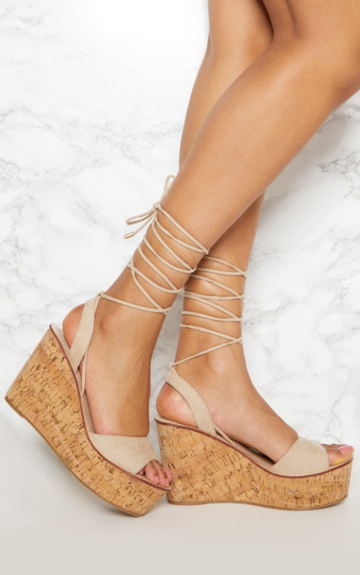 Taupe Cork Wedge