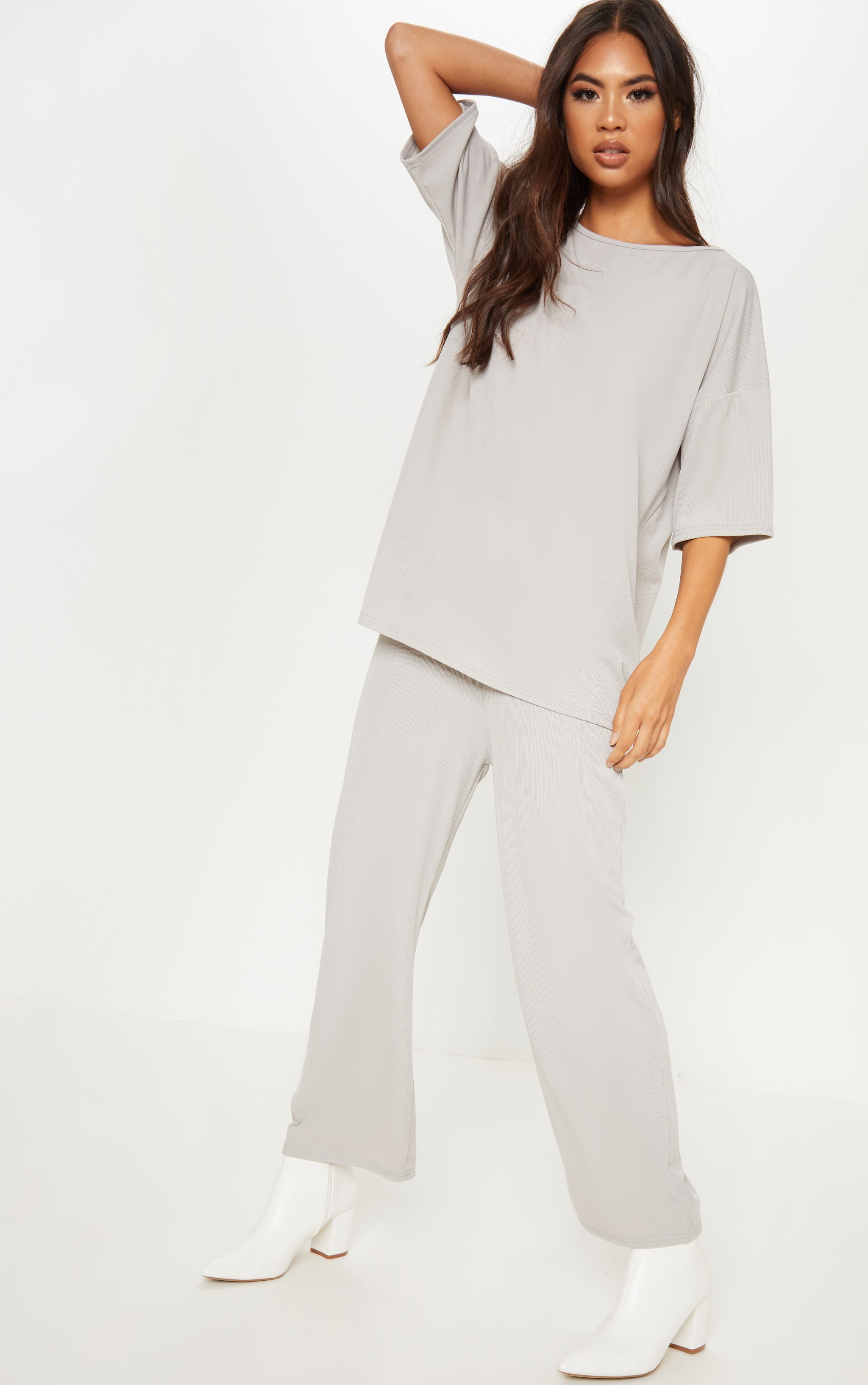 Ice Grey Slinky Rib Wide Leg Cropped Trouser