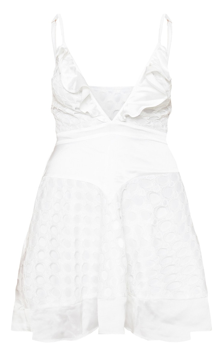 White Lace Strappy Skater Dress 3
