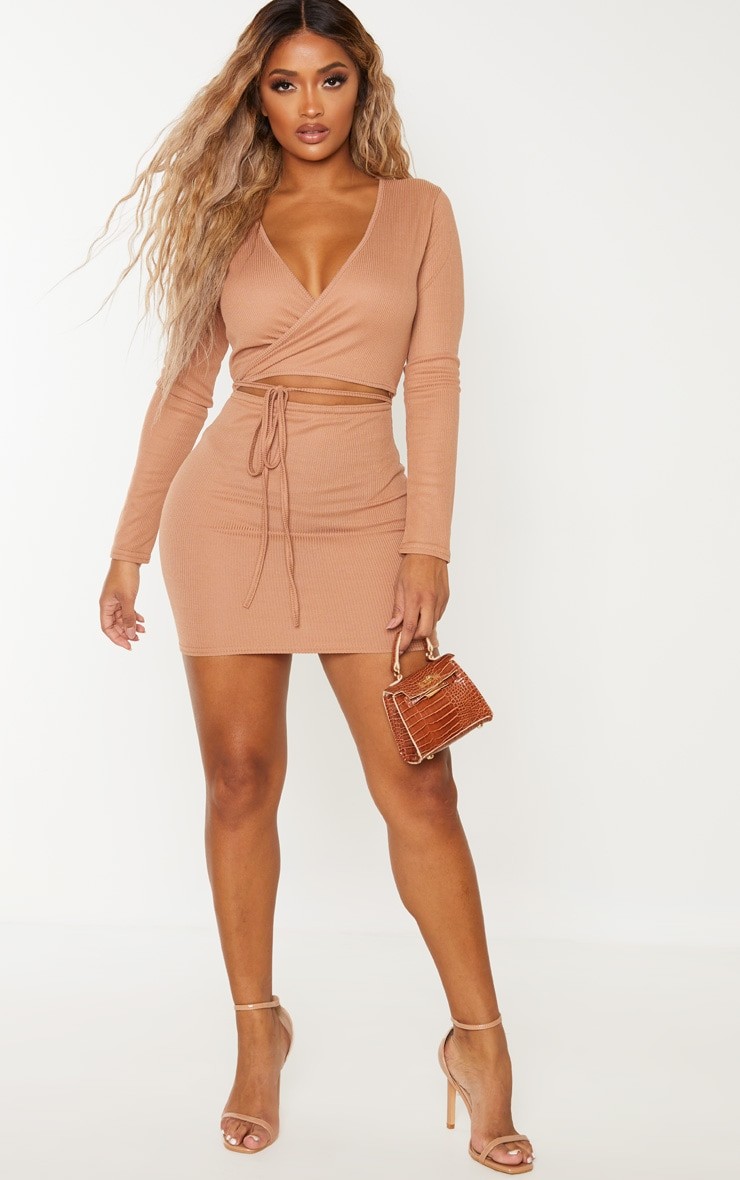 Shape Camel Ribbed Wrap Waist Bodycon Dress 4