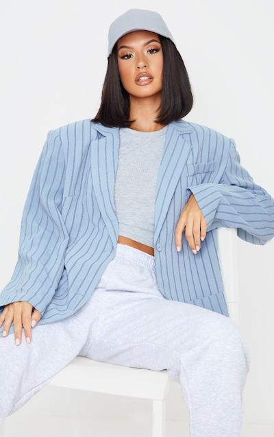 Grey Stripe Extreme Oversized Blazer