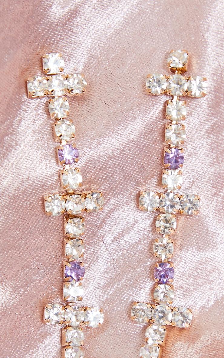 Boucles d'oreilles à frange de croix strassées argentées 3