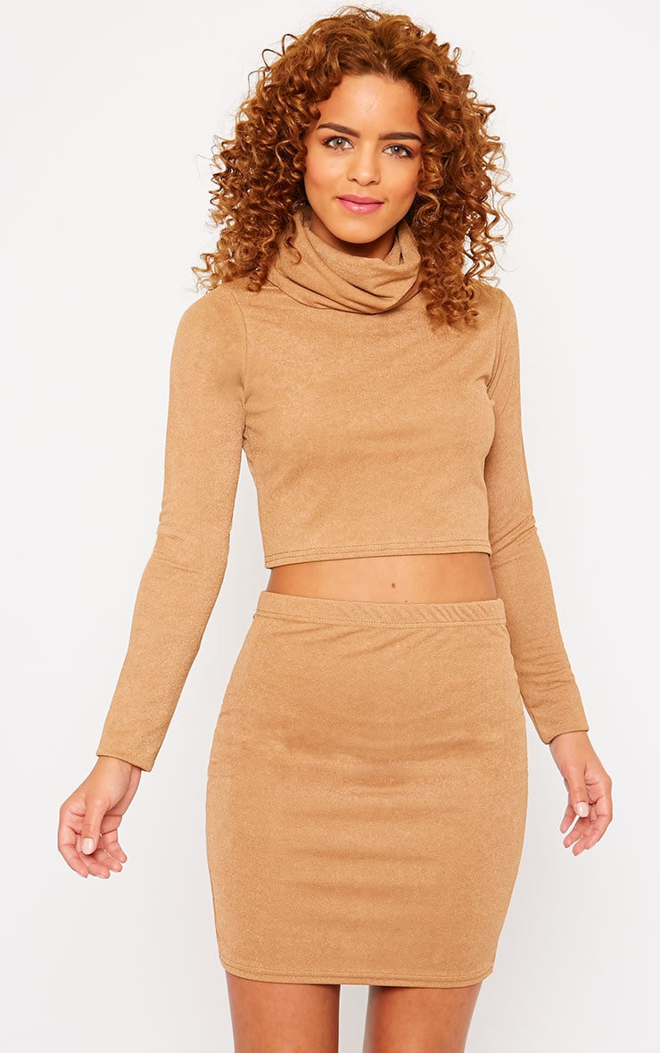 Emilia Camel Crepe Roll Neck Crop Top  1