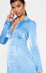 Bright Blue Button Front Collared Blazer Dress 5