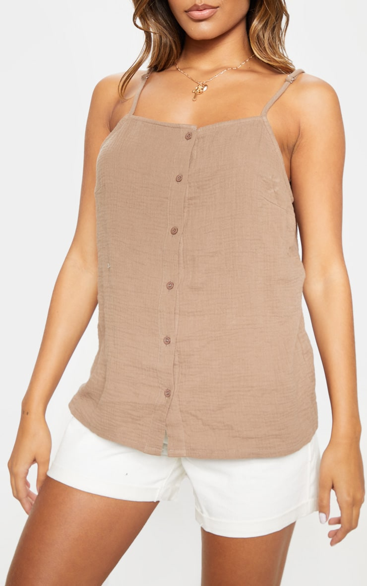 Taupe Linen Mix Button Front Oversized Cami Top 5