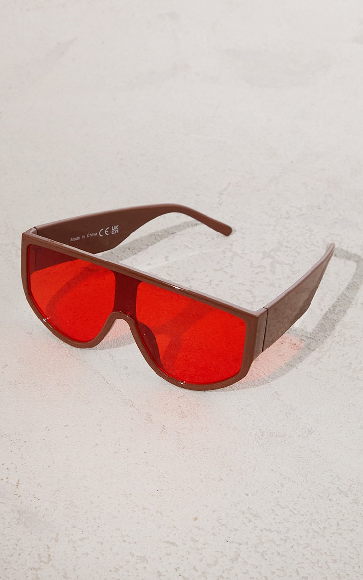 Brown with Red Lens Overszied Visor Sunglasses 2