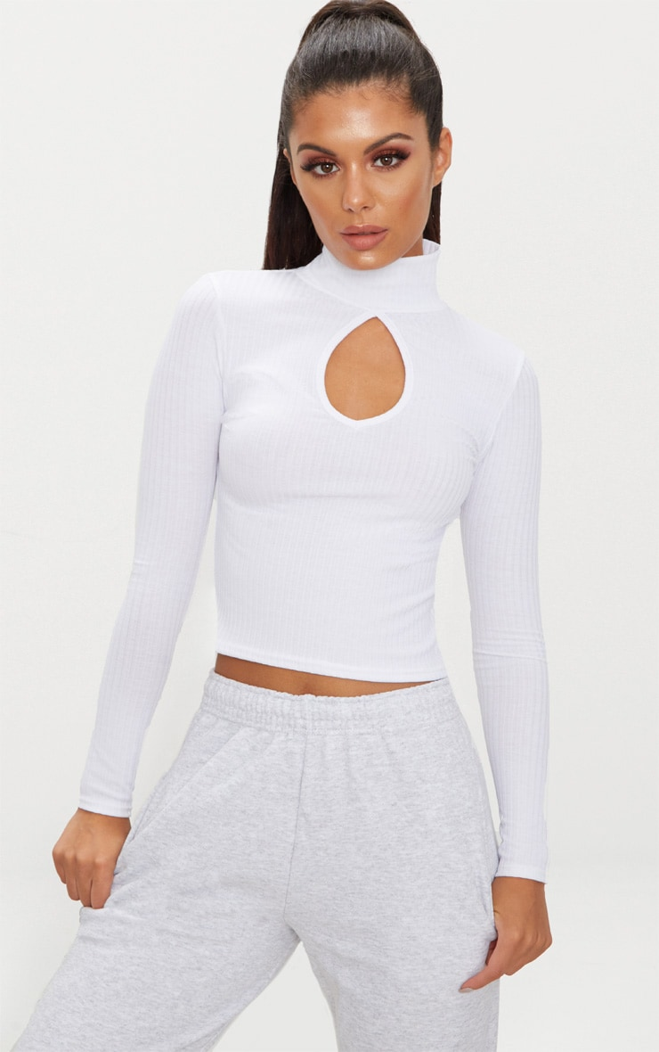 White Long Sleeve Rib Key Hole Crop Top 1