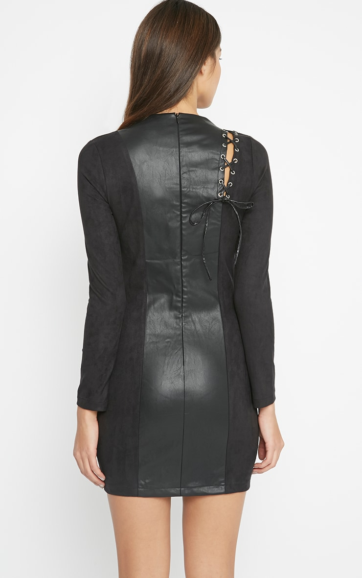 Audrey Black Lace Up Leather Panel Dress 2
