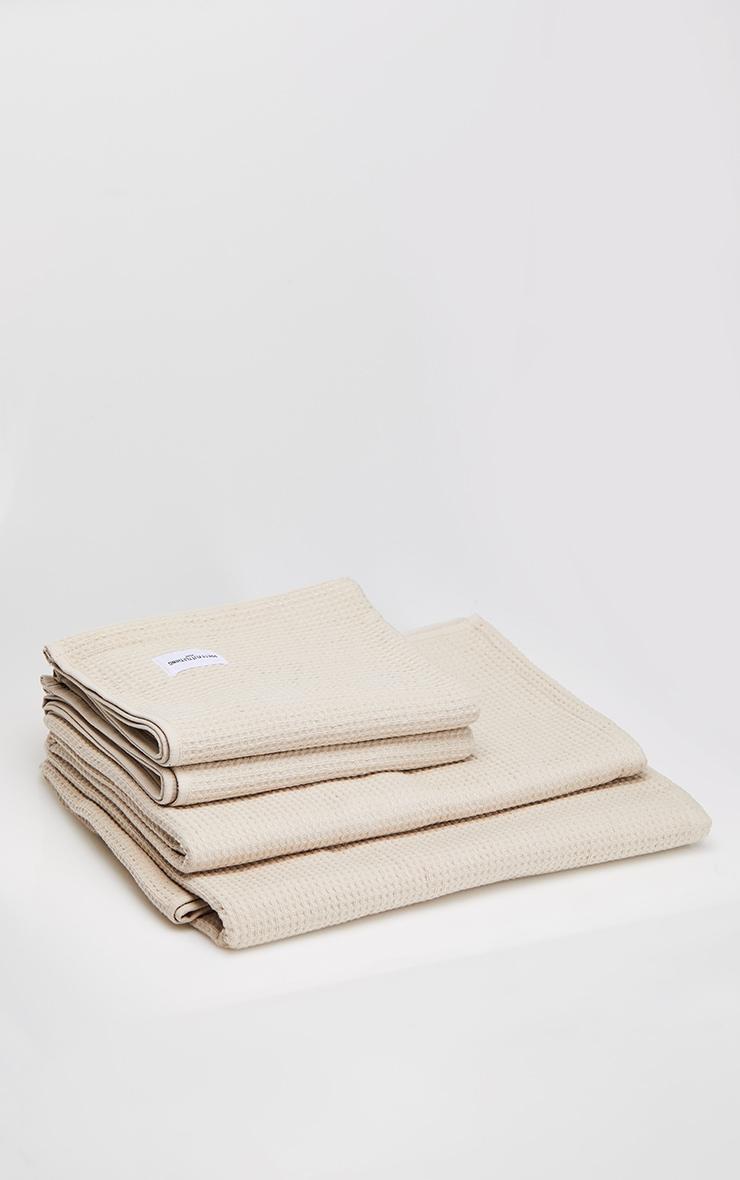 Natural Waffle Cotton Medium Bath Towel 4
