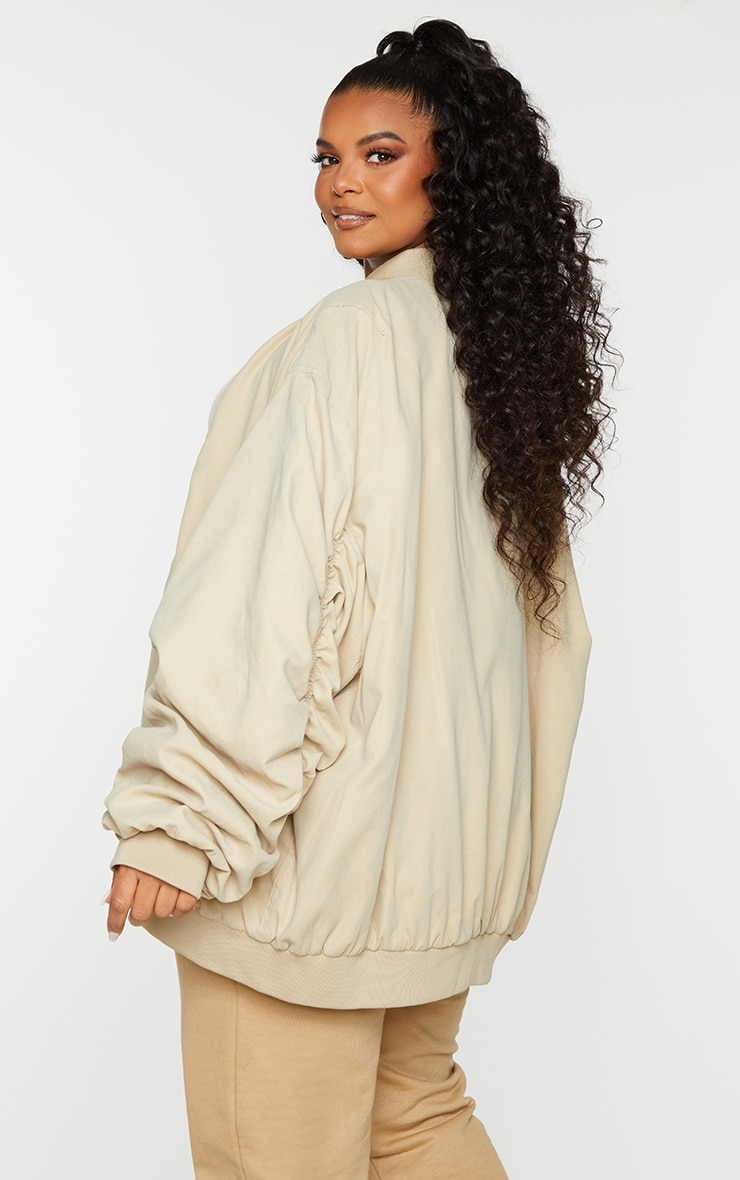 Plus Stone Peach Skin Oversized Ruched Sleeve Bomber Jacket 2