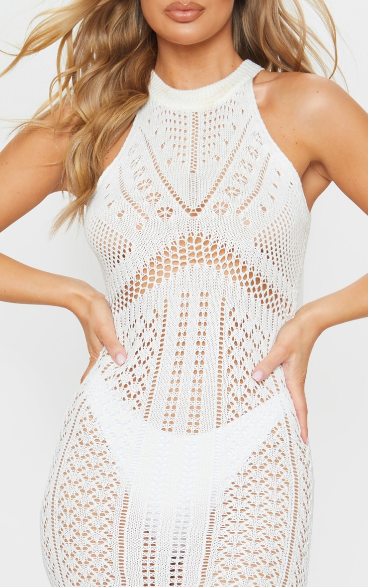 Cream Cut Out Detail Crochet Knit Midi Dress 4