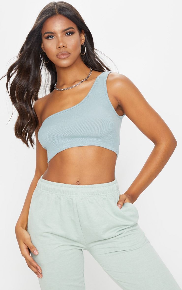 Dove Grey One Shoulder Rib Crop Top 1