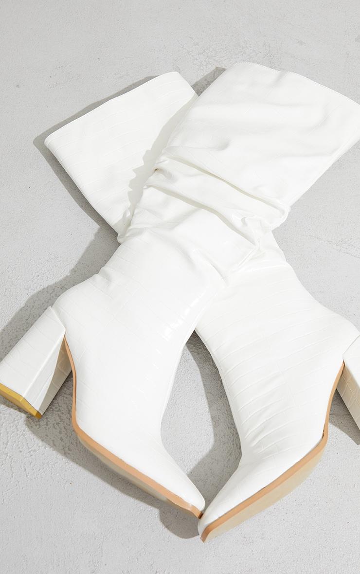White High Block Heel Knee High Boots 3