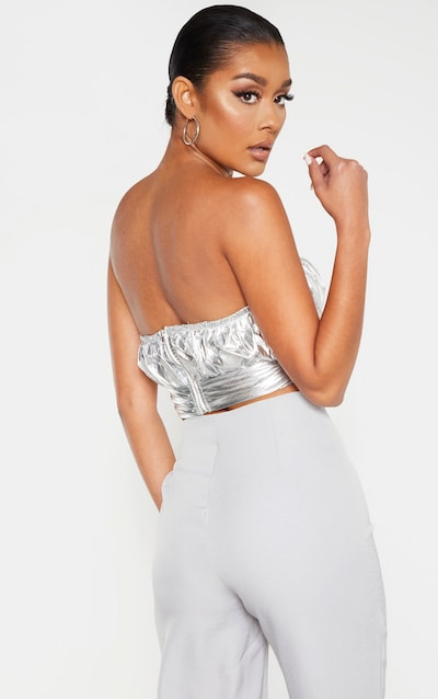 Silver Metallic Ruched Twisted Bandeau